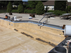Unfinished pool step before ATOGNC